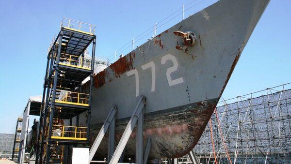 Поврежденный корпус сторожевого корабля Чхонан