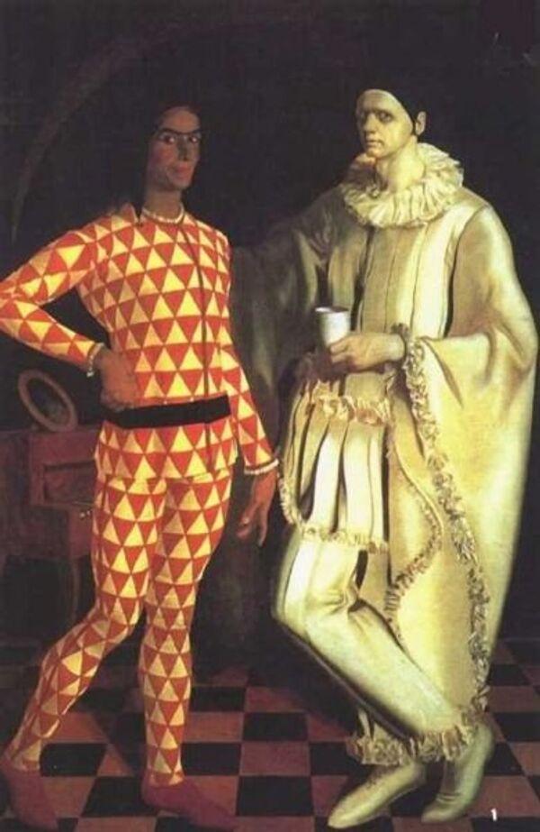 Яковлев Александр Евгеньевич. Автопортрет (Арлекин и Пьеро). 1914. Масло