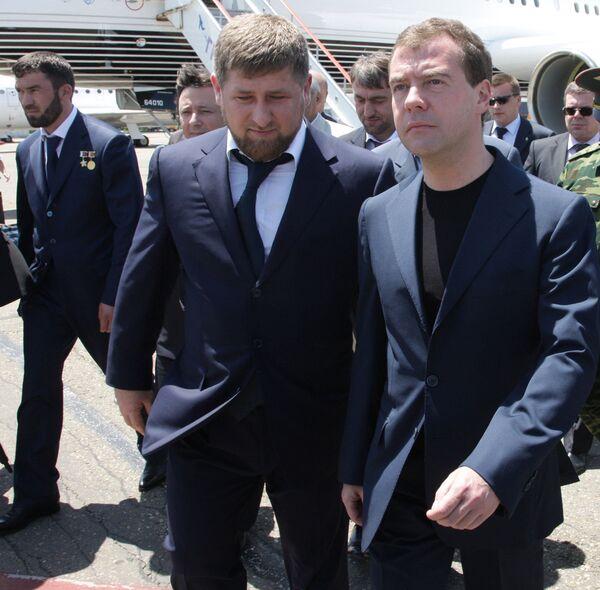 Президент РФ Д.Медведев прибыл с рабочей поездкой в Чеченскую Республику