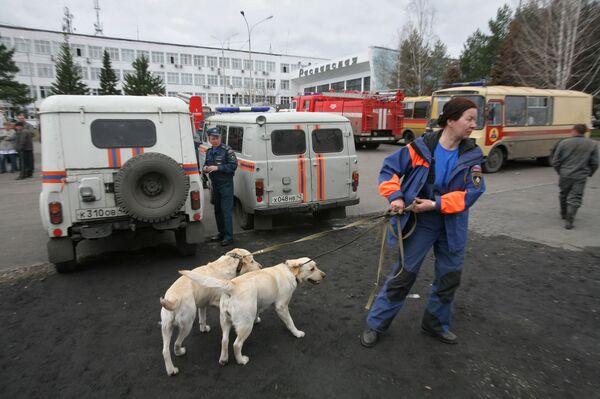 Место аварии на шахте Распадская в Кемеровской области