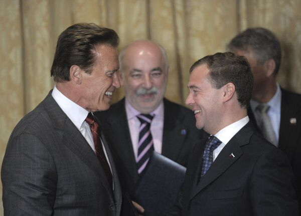 Встреча президента РФ Дмитрия Медведева с губернатором Калифорнии Арнольдом Шварценеггером