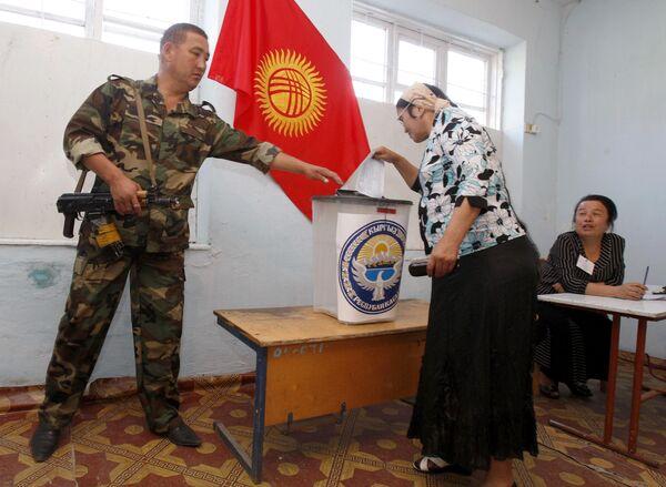 Голосование на референдуме в Киргизии