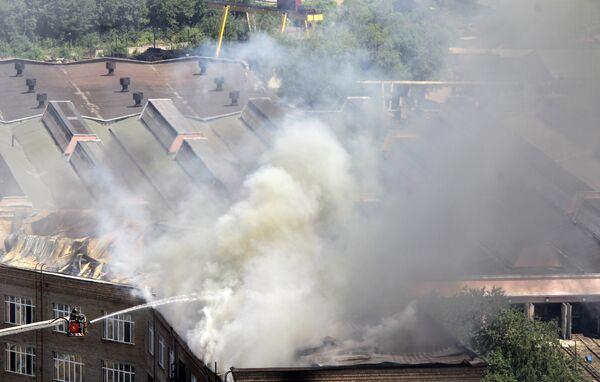 Пожар в одном из зданий концерна Алмаз-Антей на севере Москвы