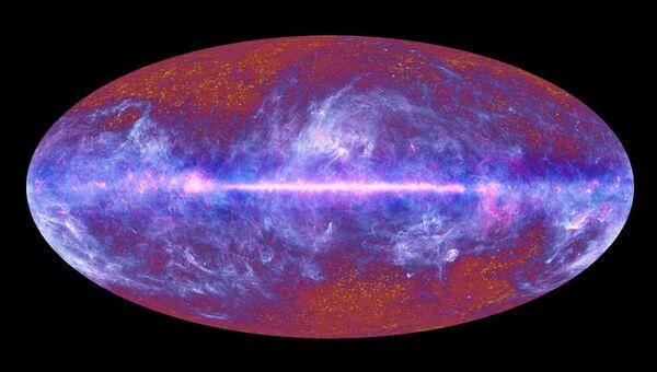 Карта реликтового излучения, составленная орбитальной обсерваторией Планк