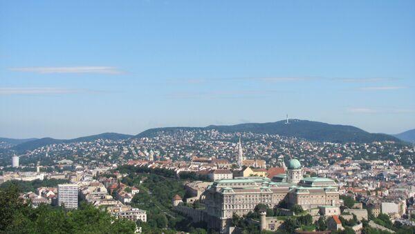 Открывающийся с горы Геллерт вид на столицу Венгрии - Будапешт