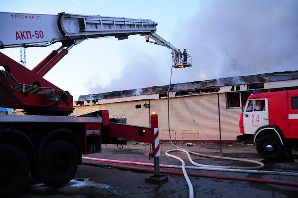Пожар в гипермаркете Геомар в Омске