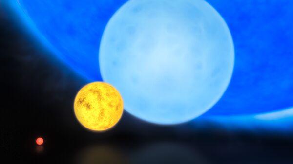 Относительные размеры звезд: красный карлик, Солнце, звезда массой около 8 солнечных и «рекордсменка» R136a1 (синяя звезда на фоне)