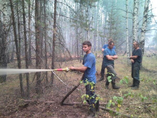 Тушение лесных пожаров в Егорьевске