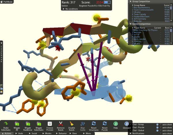 Скриншот игры Foldit, демонтрирующий пользовательский интерфейс.