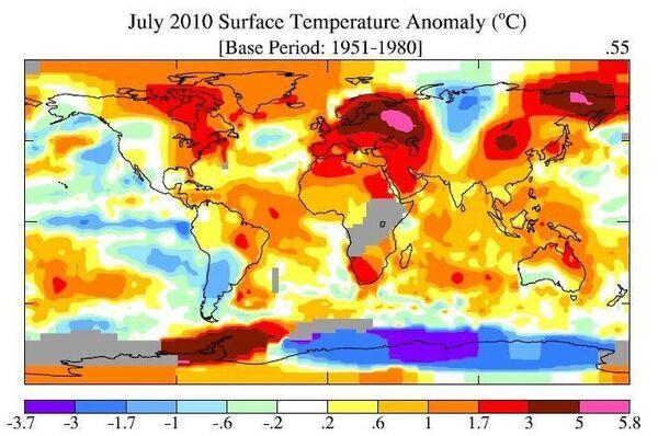 Глобальная карта температурных аномалий июля 2010 года