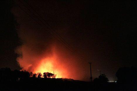 Пожар на свалке ТБО Сабурово в Щелковском районе Московской области