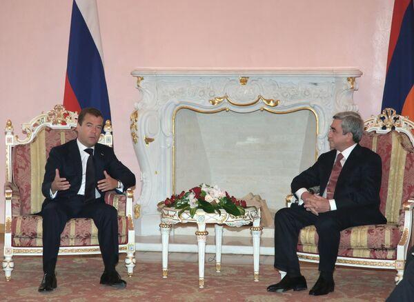 Беседа президентов РФ и Армении Дмитрия Медведева и Сержа Саргсяна в Ереване
