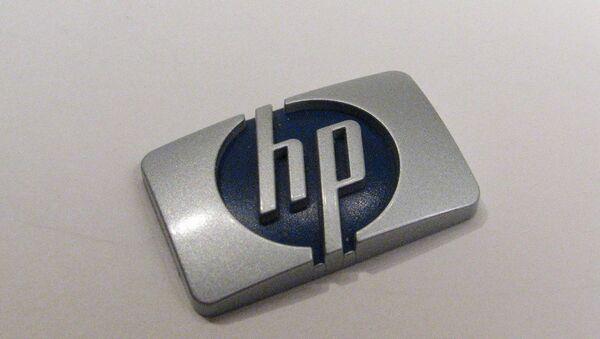 Фотография логотипа Hewlett-Packard. Архивное фото