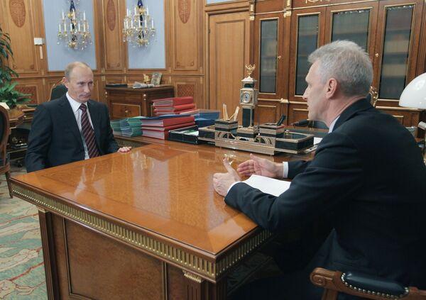 Премьер-министр РФ Владимир Путин провел рабочую встречу с Андреем Фурсенко