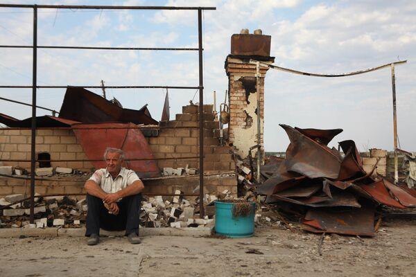 Сгоревшее село Русская Будневка в Волгоградской области