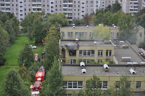 Пожар в школе в Ясенево