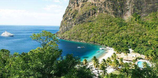 Пляж на острове острова Сент-Люсия