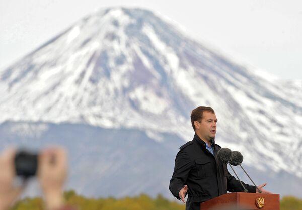 Президент России Дмитрий Медведев на Камчатке