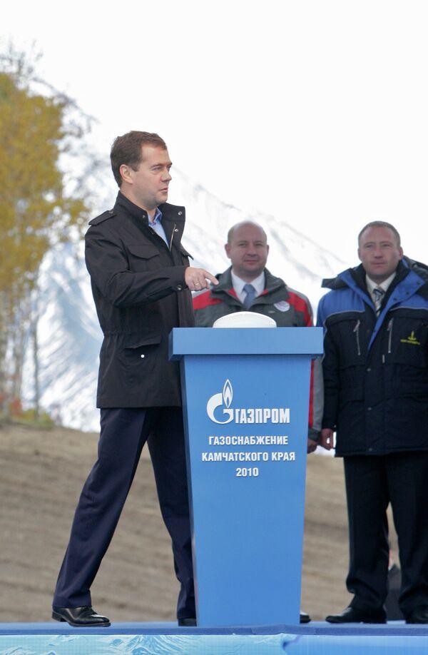 Д.Медведев принял участие в церемонии пуска в эксплуатацию газопровода Соболево-Петропавловск-Камчатский