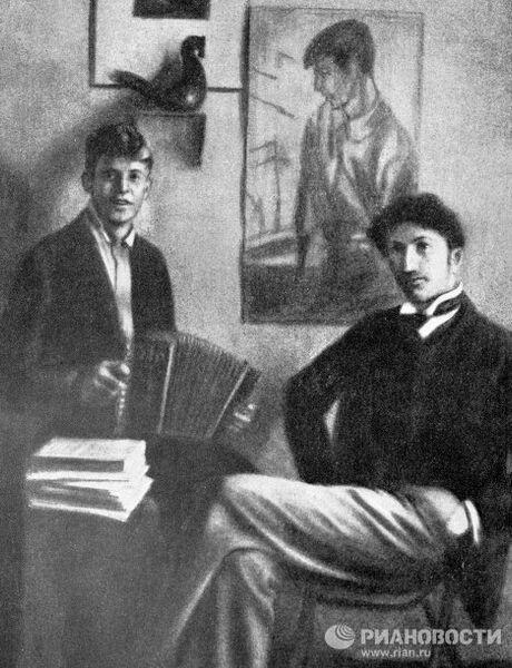 Поэты Сергей Есенин и Сергей Городецкий