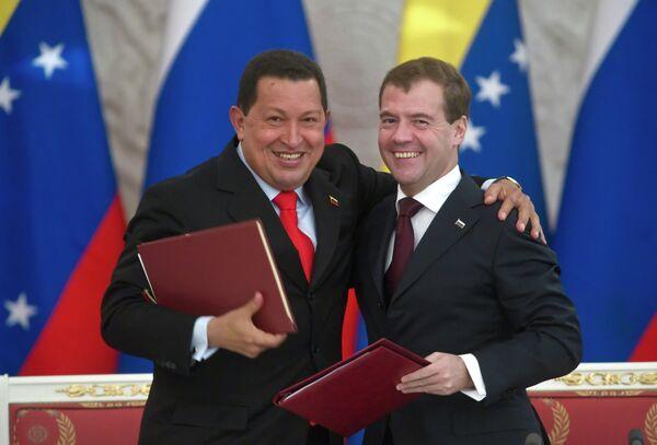 Президент РФ Д.Медведев провел в Кремле переговоры с президентом Венесуэлы Уго Чавесом