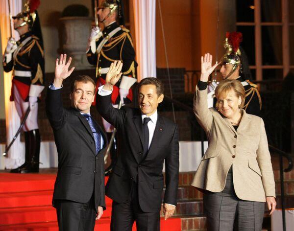 Официальная церемония встречи лидеров России, Франции и Германии