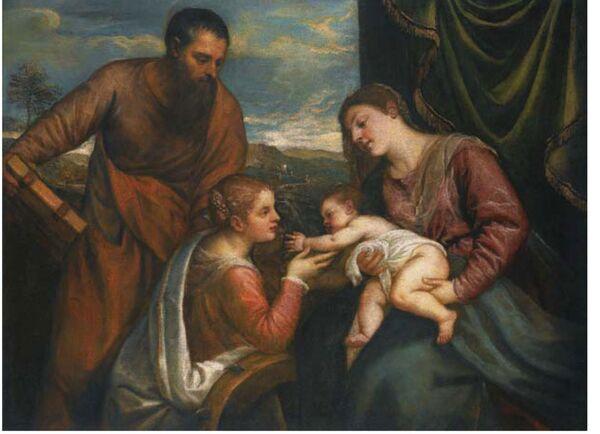 Картина Тициана Святое собеседование со святыми Лукой и Екатериной Александрийской (около 1650 года)