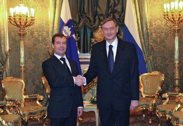 Президенты РФ и Словении Д.Медведев и Д.Тюрк