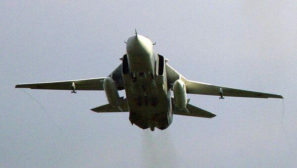 Фронтовой бомбардировщик Су-24М. Архив