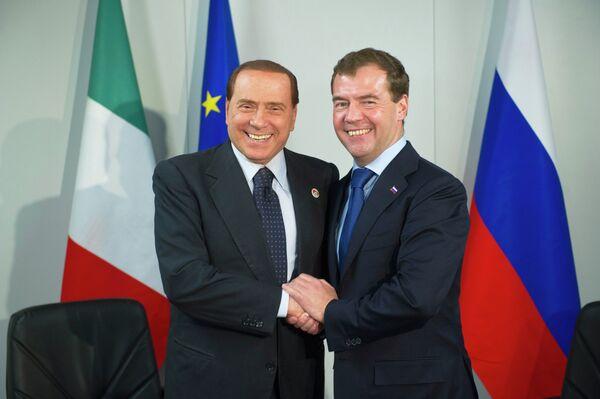 Президент РФ Д.Медведев встретился с премьером Италии С.Берлускони