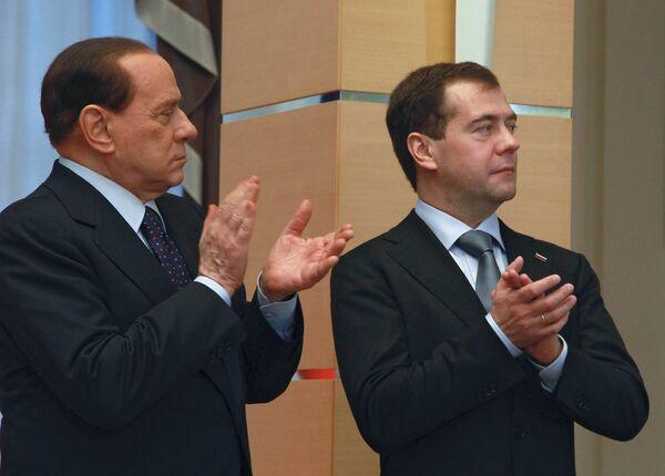 Президент России Д.Медведев и премьер-министр Италии С.Берлускони