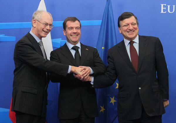 Дмитрий Медведев, Херман Ван Ромпей и Жозе Мануэл Баррозу