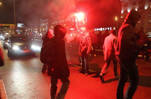 Фанаты ФК Спартак перекрыли Ленинградское шоссе