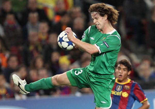 Игровой момент матча Барселона (Испания) - Рубин (Россия)