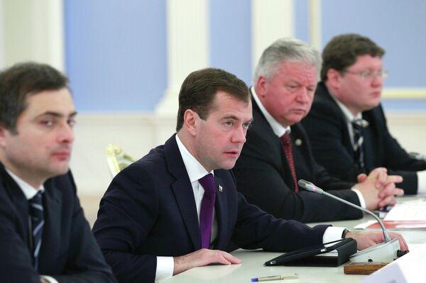 Президент РФ Д.Медведев провел встречу с руководителями российских профсоюзных организаций