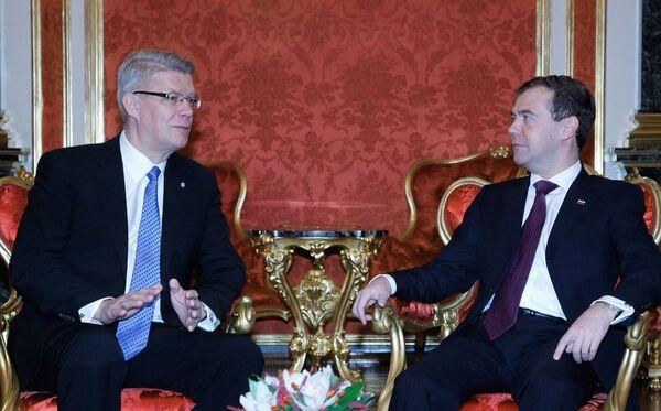 Беседа президента РФ Дмитрия Медведева с президентом Латвии Валдисом Затлерсом