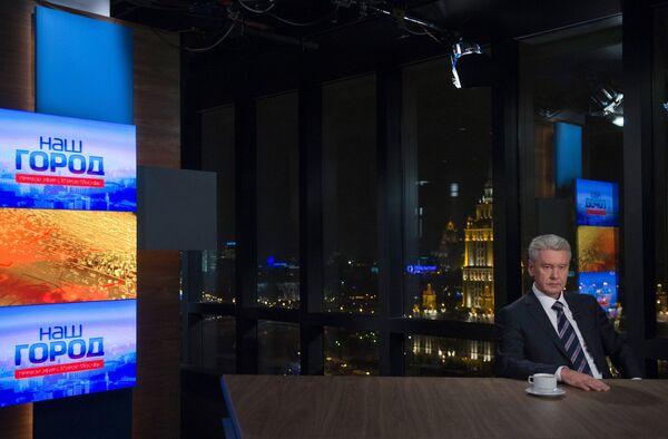 Мэр Москвы Сергей Собянин выступил в прямом эфире телеканала ТВ Центр