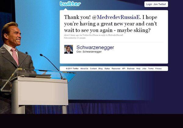 Скриншот страницы микроблога А.Шварценеггера в Twitter
