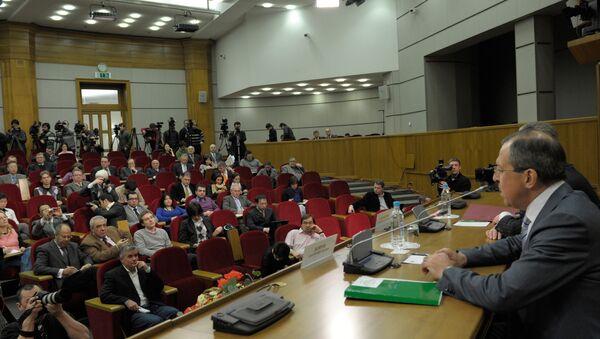 Пресс-конференция главы МИД РФ Сергея Лаврова