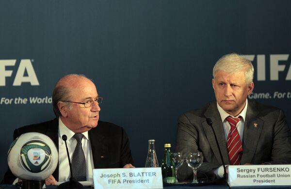 Йозер Блаттер и Сергей Фурсенко (слева направо)