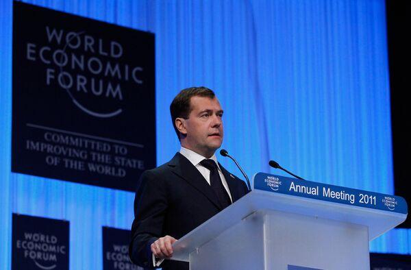 Дмитрий Медведев выступил на Всемирном экономическом форуме в Давосе