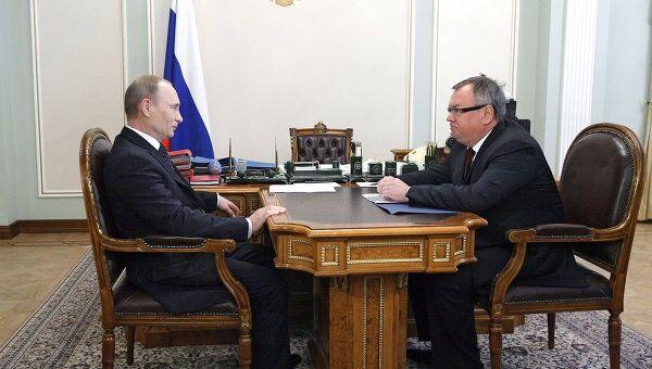 Премьер-министр РФ Владимир Путин провел рабочую встречу с Андреем Костиным