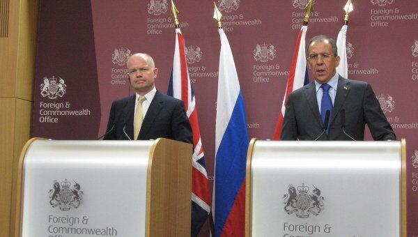 Пресс-конференция министров иностранных дел России и Великобритании Сергея Лаврова и Уильяма Хейга