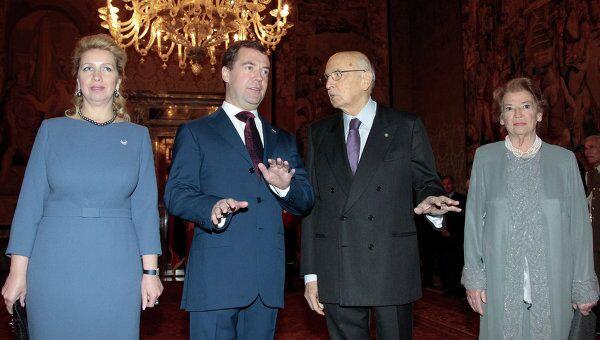 Президент РФ Д.Медведев с супругой в Квиринальском дворце