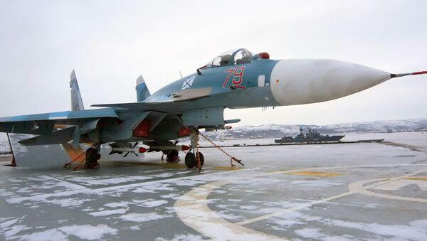 Многоцелевой палубный истребитель Су-33. Архивное фото