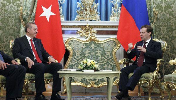 Президент РФ Дмитрий Медведев и премьер-министр Турции Реджеп Эрдоган в Кремле