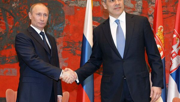 Беседа премьер-министра РФ Влалимира Путина и президента Сербии Бориса Тадича в Белграде