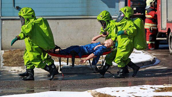 Учения МЧС по ликвидации последствий аварии на химически опасном объекте