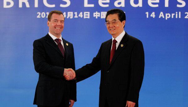 Председатель КНР Ху Цзиньтао и президент России Дмитрий Медведев. Архив