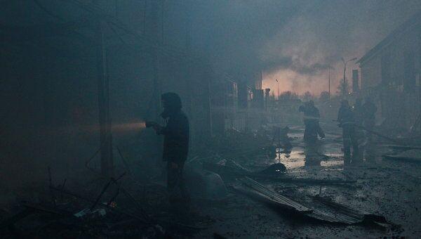 Пожар на строительном рынке в подмосковном Реутове